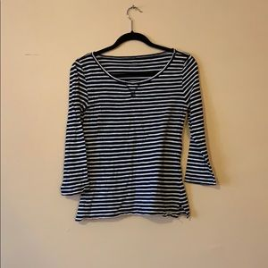 Black and white striped 3/4 Sleeve Tee